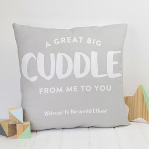 Cuddle From Me To You Personalised Cushion Gift - living room
