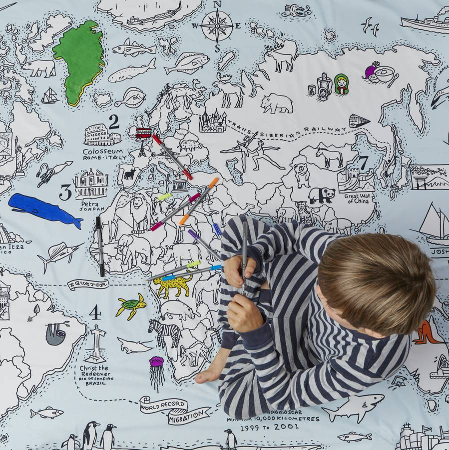 World map duvet colour and learn by eatsleepdoodle world map duvet colour and learn gumiabroncs Image collections