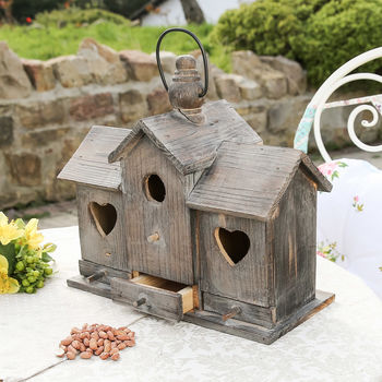Personalised Heart Wooden Bird House And Feeder