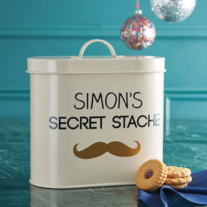 Personalised Stache Storage Tin - kitchen accessories