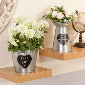 10th Anniversary Personalised Tin Pitcher And Planter