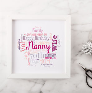 Personalised 70th Birthday Gift For Her