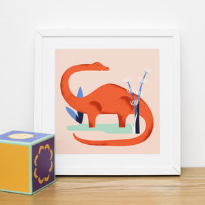 Dinosaur Art Prints: Diplodocus, Triceratops Or T Rex - children's room