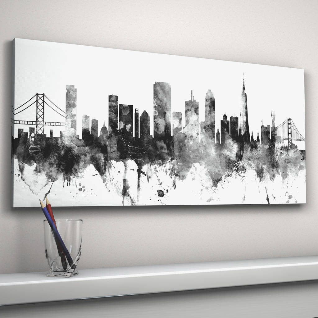 San Francisco Skyline Cityscape Black And White by Artpause