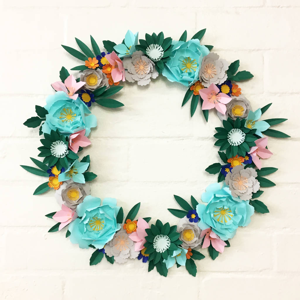 Handmade Paper Flower Wreath By May Contain Glitter