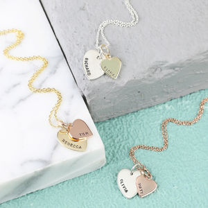 Personalised Solid Gold Double Heart Charm Necklace - goddess collection