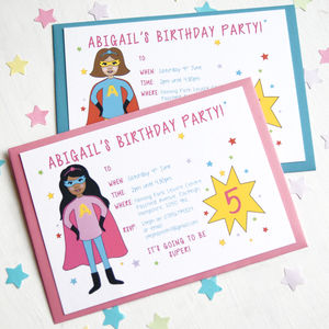 Superhero Girl Children's Party Invitations - childrens party invitations