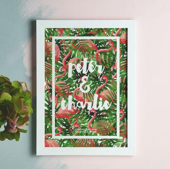 Personalised Tropical Leaf And Flamingo Print