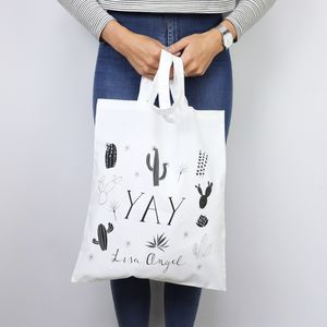 Illustrated 'Yay' Cactus Tote Bag