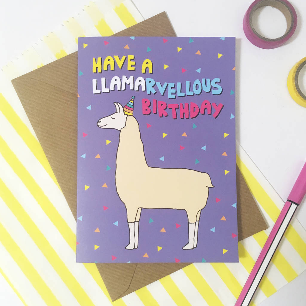 Llama Birthday Card By Ladykerry Illustrated Gifts