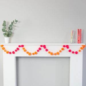 Multicoloured Pom Pom Bunting Garland - decoration