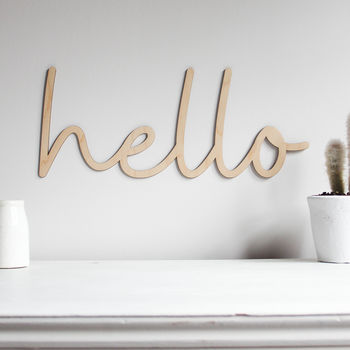 Hello Wooden Wall Sign