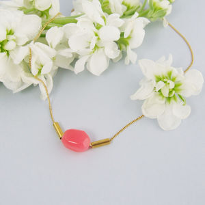 Gold Necklace With Pink Coral Tinted Quartz - women's jewellery sale