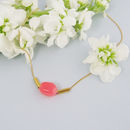 Gold Necklace With Pink Coral Tinted Quartz