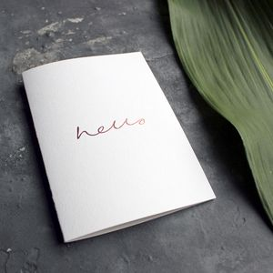 'Hello' Rose Gold Foil Friendship Card