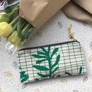 'Sprig Grid' Leafy Pattern Printed Pencil Case