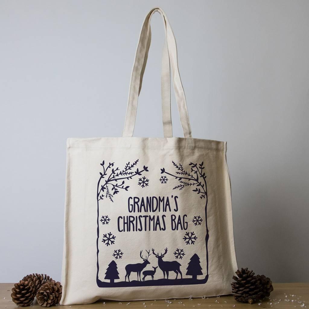 personalised christmas tote bag winter wonderland cream navy