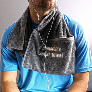 Personalised Zip Pocket Gym Towel - bathroom