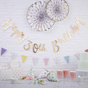 Gold Foiled Happy 30th Birthday Bunting Backdrop - decoration