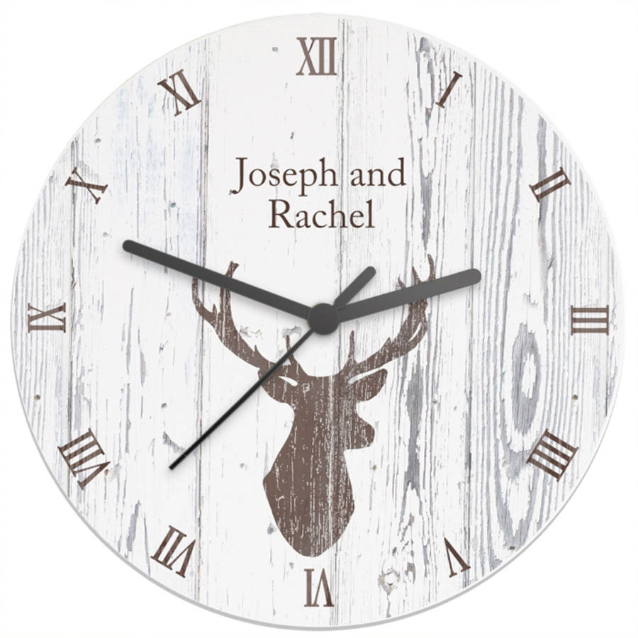 Personalised highland stag clock by thelittleboysroom personalised highland stag clock amipublicfo Image collections