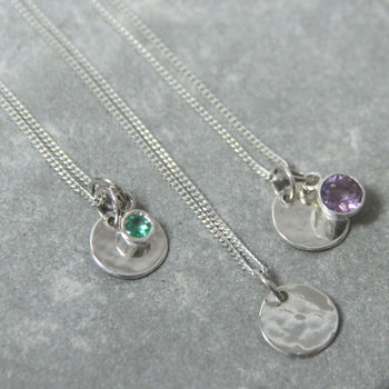 Mini Silver Sequin And Birthstone Necklace