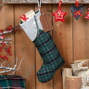 Personalised Green And Silver Tartan Christmas Stocking - decorative accessories
