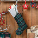 Personalised Green And Silver Tartan Christmas Stocking