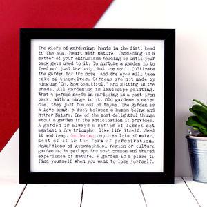 Gift For Gardener; 'Gardening' Print