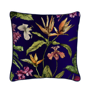 Silk Tropical Midnight Botanical Luxury Cushion - cushions