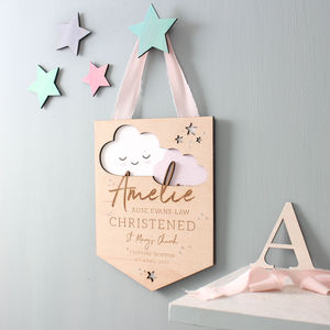 Cloud Christening Details Keepsake - nursery pictures & prints