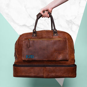 Personalised Leather Raleigh Holdall - men's travel gifts