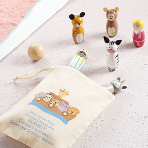 Childrens Noahs Ark Skittles And Personalised Bag - religious christening gifts