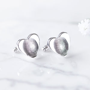 Silver Fingerprint Heart Wedding Cufflinks - gifts for the groom