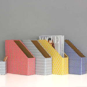 Recycled Geometric Print Magazine File - desk accessories