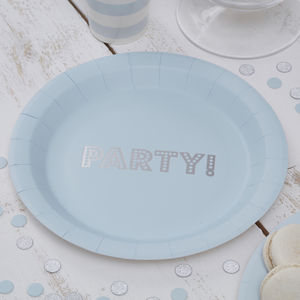 Pastel Blue Party Silver Foiled Paper Plate - winter sale
