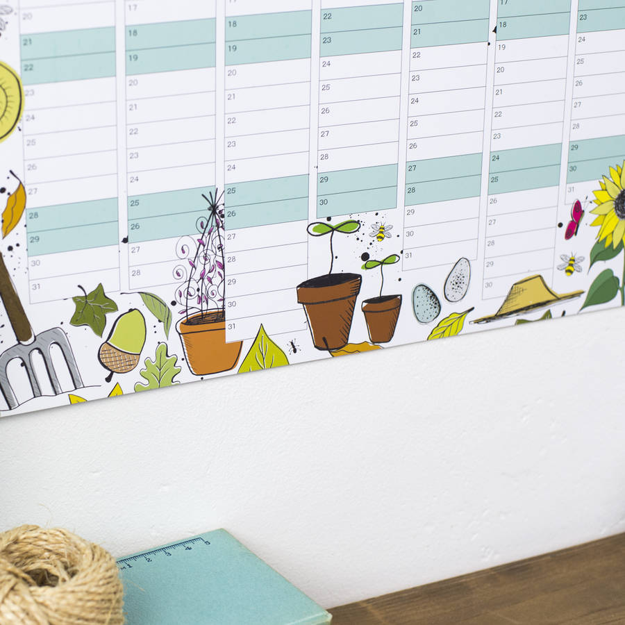 Reduced 2017 garden wall calendar and year planner by for Gardening wall planner