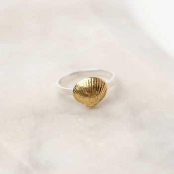 Shell Sterling Silver And Gold Vermeil Charm Ring