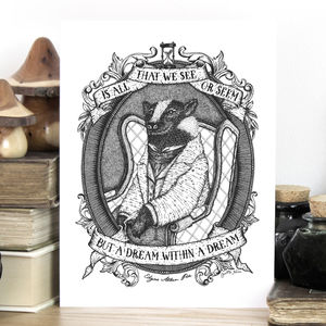 'Dream Within A Dream' Edgar Allan Poe Quote Print - animals & wildlife