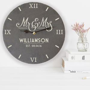 Personalised Slate Mr And Mrs Clock - living room