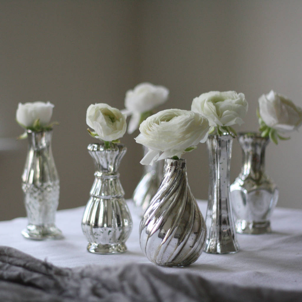 Flower Vases For Weddings: Set Of Six Mercury Silver Vases On Tray Wedding By The