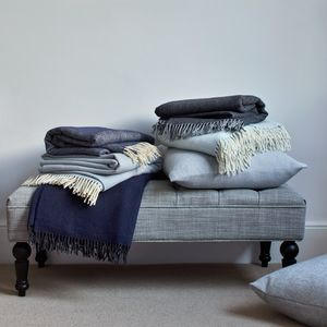 Kendal Long Supersoft Merino Wool Herringbone Blanket