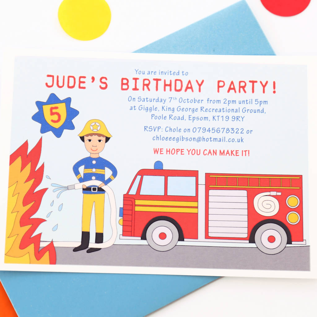 Firefighter Child Birthday Party Invitations