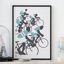 'The Cyclist' Illustrated Art Print In Coastal Blue