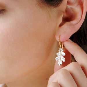 Sterling Silver And Gold Oak Leaf Earrings