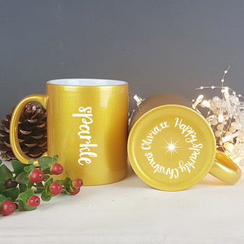 Golden Sparkle Christmas Mug