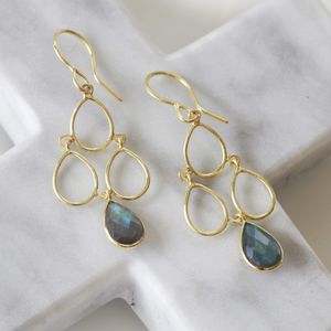 Deco Earrings In Gold With Gemstones - earrings
