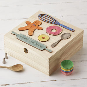 Personalised Wooden Bakers Storage Box