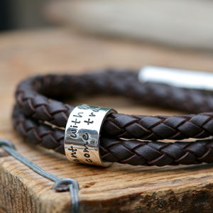 Personalised Brown Wrapped Mens Leather Bracelet - men's jewellery