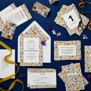 Bright Flowers Wedding Stationery Sample Pack - save the date cards