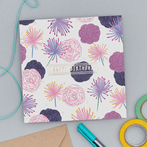Meadow Rue Birthday Card With Gold Foil - birthday cards